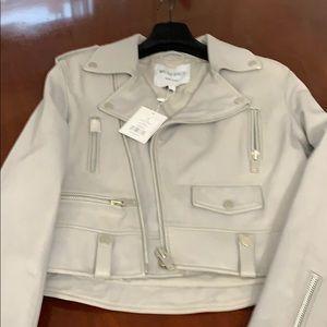 Grey Lambs Leather Motorcycle Jacket.